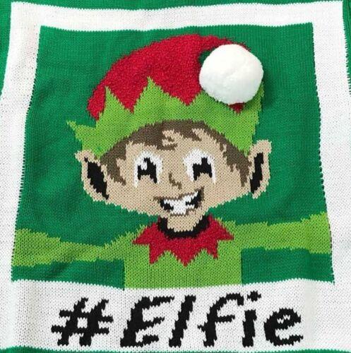 Boys Girls Unisex Kids Novelty Retro Knitted Christmas Elf Selfie 3D Xmas Jumper