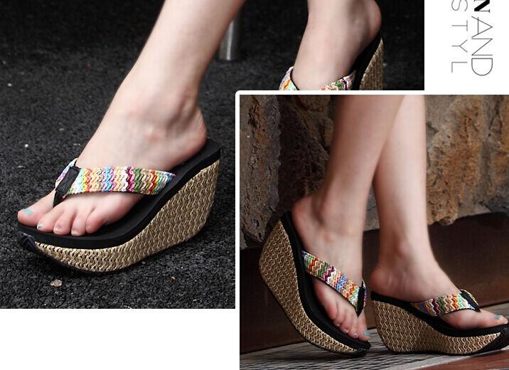 Schuhe ciabatte sabot Sandale zeppa 9 cm corda infradito colorati infradito corda comodi 9287 f0bbd1