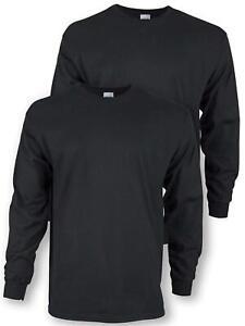 Gildan Men's Ultra Cotton Adult Long Sleeve T-Shirt, 2-Pack,, Black, Size Small