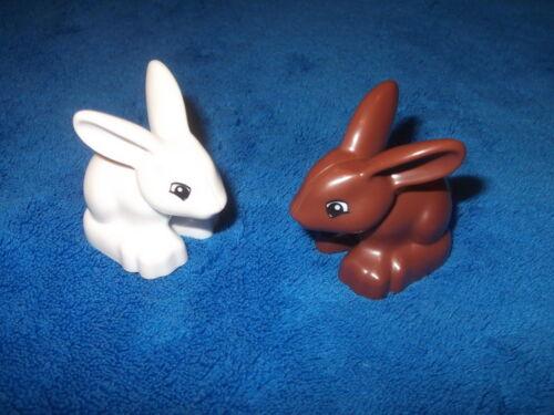 LEGO DUPLO IL PRINCIPE senso Lucchetto 2 x Coniglio Tippete Bianco Marrone 10542 10819 Rabbit