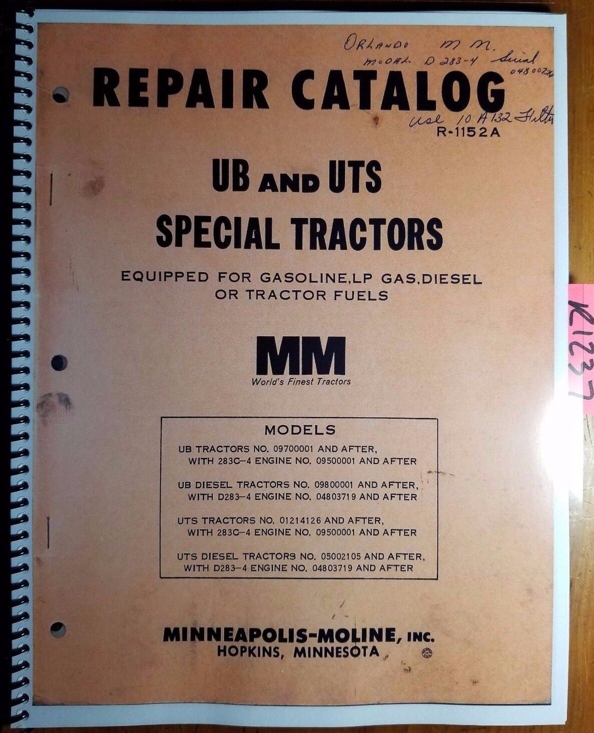 Minneapolis Moline Ub Uts Parts Manual Catalog 1152 Ebay Tractor Wiring Diagrams Norton Secured Powered By Verisign