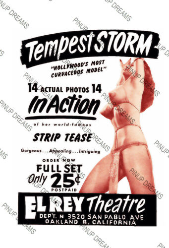 Tempest Storm Vintage Poster Advert for Burlesque Artist Various Sizes Re-print