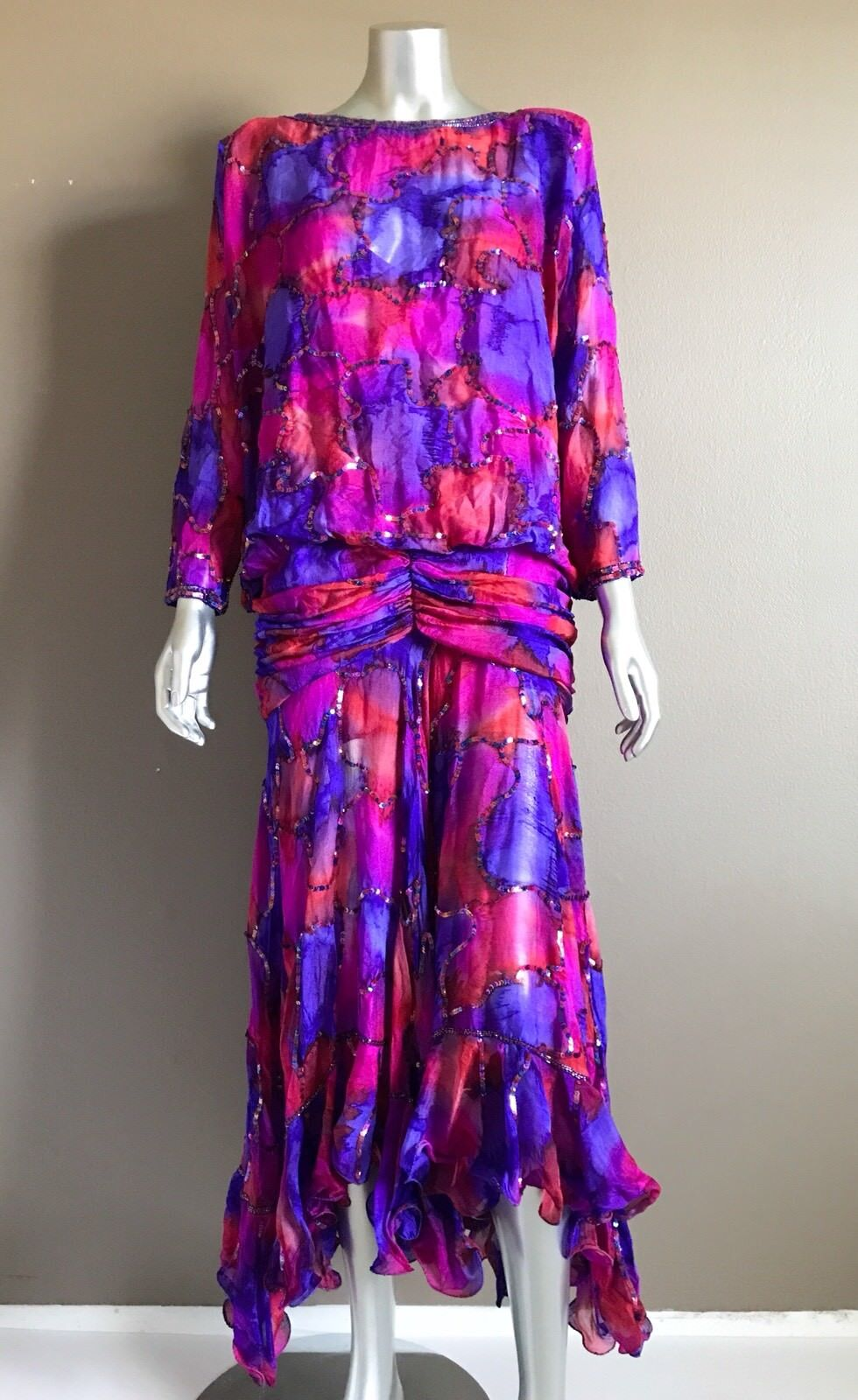 Vintage Judith Ann Creations True 80's Beaded 100% Silk Multi-color Dress Size M
