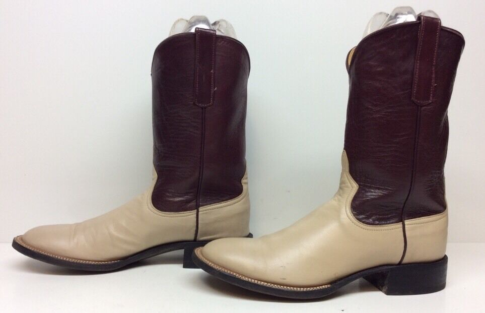 WOMENS THE ADVANTAGE COWBOY LEATHER IVORY BOOTS SIZE 7 B