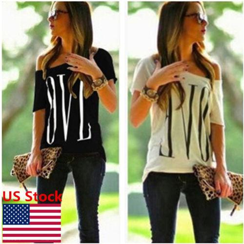 Women Off Shoulder Printing Tops Short Sleeve Blouse Loose T-Shirt Tunic