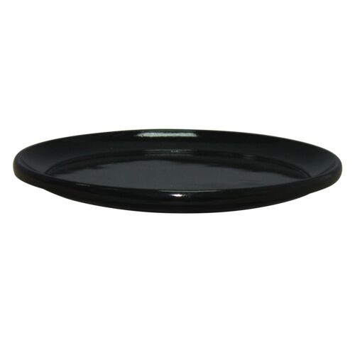 200mm,250mm Or 300mm Northcote Pottery GLAZED LOOK ROUND SAUCER Black*AUS Brand