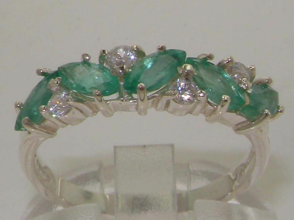 9ct Solid White gold Ladies Emerald & 0.24ct 1 4ct Diamond Ring