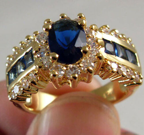 1.0//ct Blue Sapphire White CZ Wedding Ring 10KT Yellow Gold Filled Jewelry