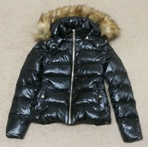 Image is loading ZARA-BLACK-DOWN-SHINY-PUFFER-PUFFA-COAT-JACKET-