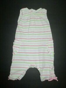 INFANT-GIRLS-BABY-GAP-GREEN-amp-PINK-STRIPED-POCKET-ROMPER-OUTFIT-SIZE-3-6-MONTHS