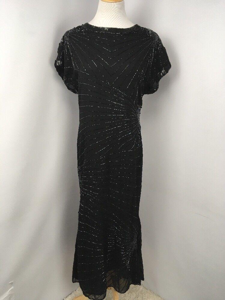 Vintage Allure schwarz Beaded Sequin Formal Gown Long Dress Größe M 80s PROM