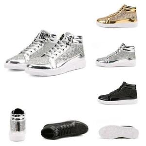 Men-039-s-Sequin-High-Top-Casual-Sport-Running-Walking-Stage-Breathable-Shoes-Haihk