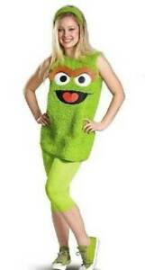 Details About Girls Tween Disguise 3 Pc Sesame Street Oscar The Grouch Halloween Costume 12 14