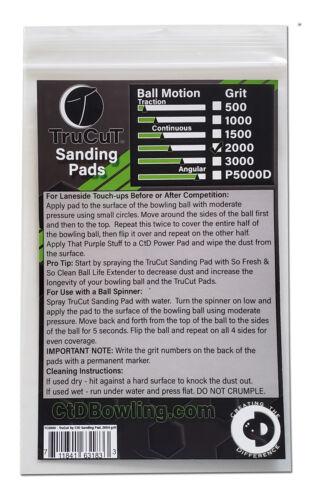 "TruCut by CtD Sanding Pads2000 GritBowling Ball Sanding Pads6/"""