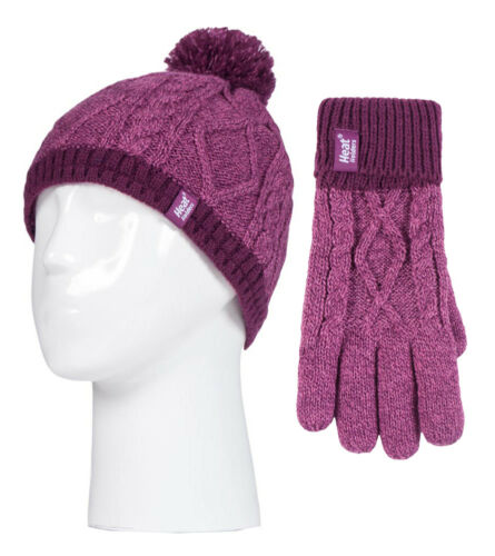 Heat Holders Childrens Girls Knit Winter Thermal Ski Bobble Hat and Gloves Set