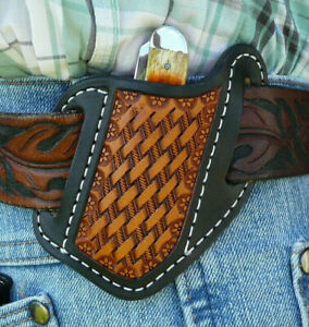 Small-Leather-Cross-Draw-Pocket-Knife-Sheath-Ruff-s-Saddle-Shop-Black-amp-Tan