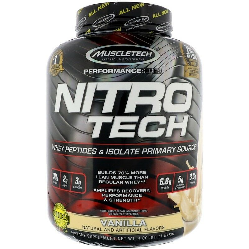 MUSCLETECH NITROTECH 4LB NITRO TECH PRO WHEY PROTEIN ISOLATE BUILDER LEAN MUSCLE BUILDER ISOLATE 4bc164