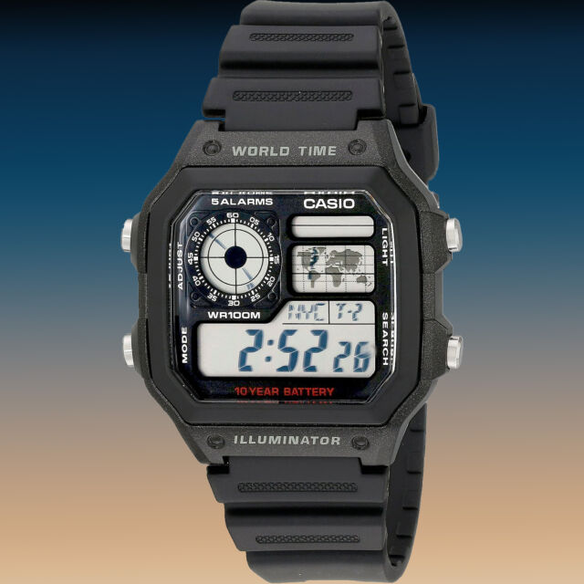 Casio AE-1200WH-1AV Watch 10 Year Battery 4 World Time Zones 5 Alarms New