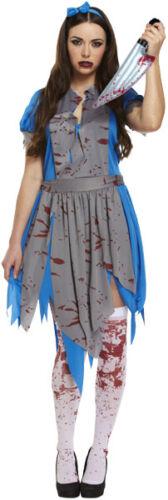 Ladies Horror Alice In Zombieland Fancy Dress Up Party Halloween Zombie Malice