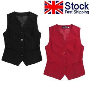 Vocni Womens Fully Lined 4 Button V-Neck Economy Dressy Suit Vest Waistcoat