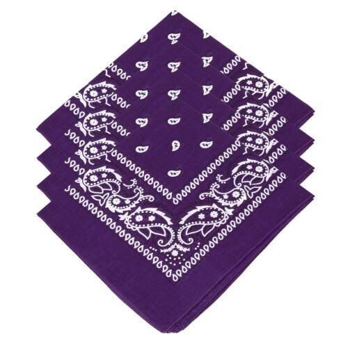 4 Mens Ladies Unisex Kids Cotton Paisley Bandanas Scarf Purple Biker Bandana Tie