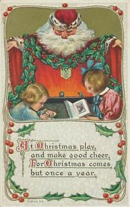 Santa-Claus-Watching-Over-Children-Holly-Antique-Christmas-Postcard-k210