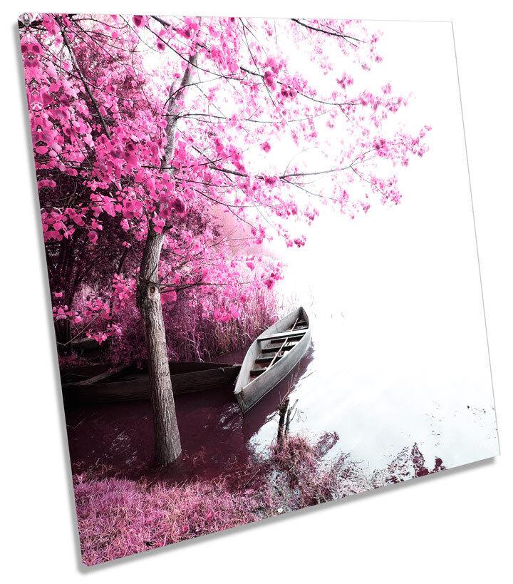 Blossom Trees Landscape Scene SQUARE CANVAS WALL ART Print Picture