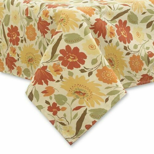 Town /& Country Blooms Laminated Fabric Tablecloth in Autumn Colors