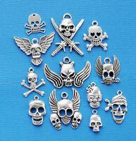 Skull Charm Collection 12 Tibetan Silvertone Charms Free Shipping E99