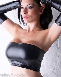 14653113e5a BLACK Wet Look BOOB TUBE TOP Faux PVC Lycra Strapless Club Party ...