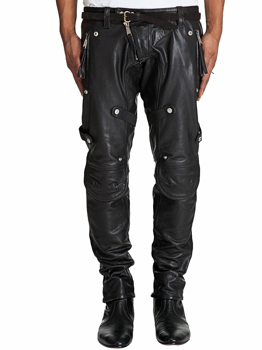 MENS GENUINE HANDMADE LEATHER PANTS LUXURY TROUSER JEANS SLANT ZIP blueF PARTY