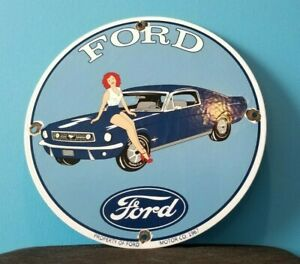 VINTAGE FORD MOTOR CO PORCELAIN GAS SERVICE AUTOMOBILE GASOLINE PUMP PLATE SIGN