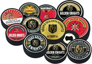 Vegas Golden Knights 3D Textured Hockey Pucks by Mustang - 11 Styles Available