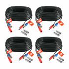ZOSI 100ft HD CCTV Video Power Wire for Security Camera DVR System - 4 Pieces Black