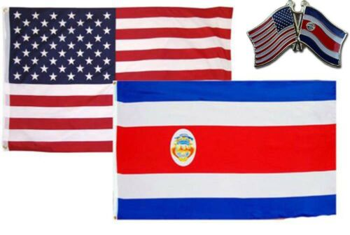 Wholesale Combo USA /& Costa Rica Country 3x5 3'x5' Flag /& Friendship Lapel Pin