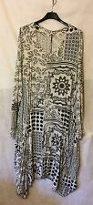 New Italian Lagenlook Quirky Boho Printed Stretch PANEL Pockets Tunic Dress 48""
