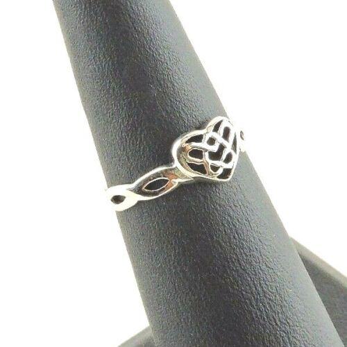 Midi Ring Size 5 Adjustable Sterling Silver Celtic Heart Toe