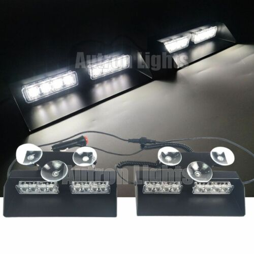 4Pcs 16 LED 2In1 White Emergency Flash Dash Strobe Sucker Windshield Light Bar