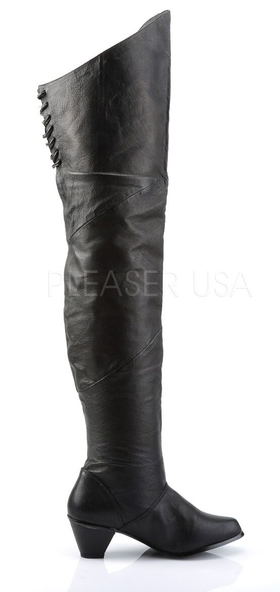 Funtasma Black Leather Thigh High Renaissance Faire Boots  6 7 8 9 10 11 12