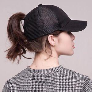 04bc5a3da Details about Summer Baseball Cap Women Messy Bun Ponytail Adjustable Sport  Trucker Hat Cute