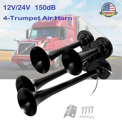 SUNDELY/® Black Zinc Alloy Solo Single Trumpet Air Horn 150db 12V for Boat Car Train Vehicle