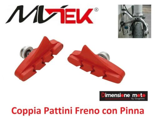 0515 Coppia PATTINI FRENO MVTEK Rossi con Pinna per Bici 202426 MTB Mountai
