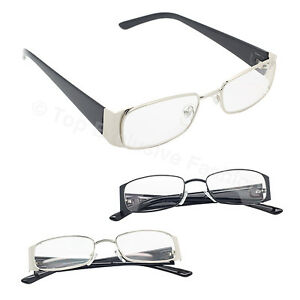 New-Square-Clear-Lens-Eyeglasses-Metal-Plastic-Frame-Glasses-Black-And-Silver
