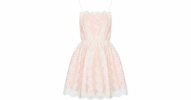 Topshop Petite Strappy Lace Prom Dress Pink Size UK 12 rrp £50 DH079 ii 20