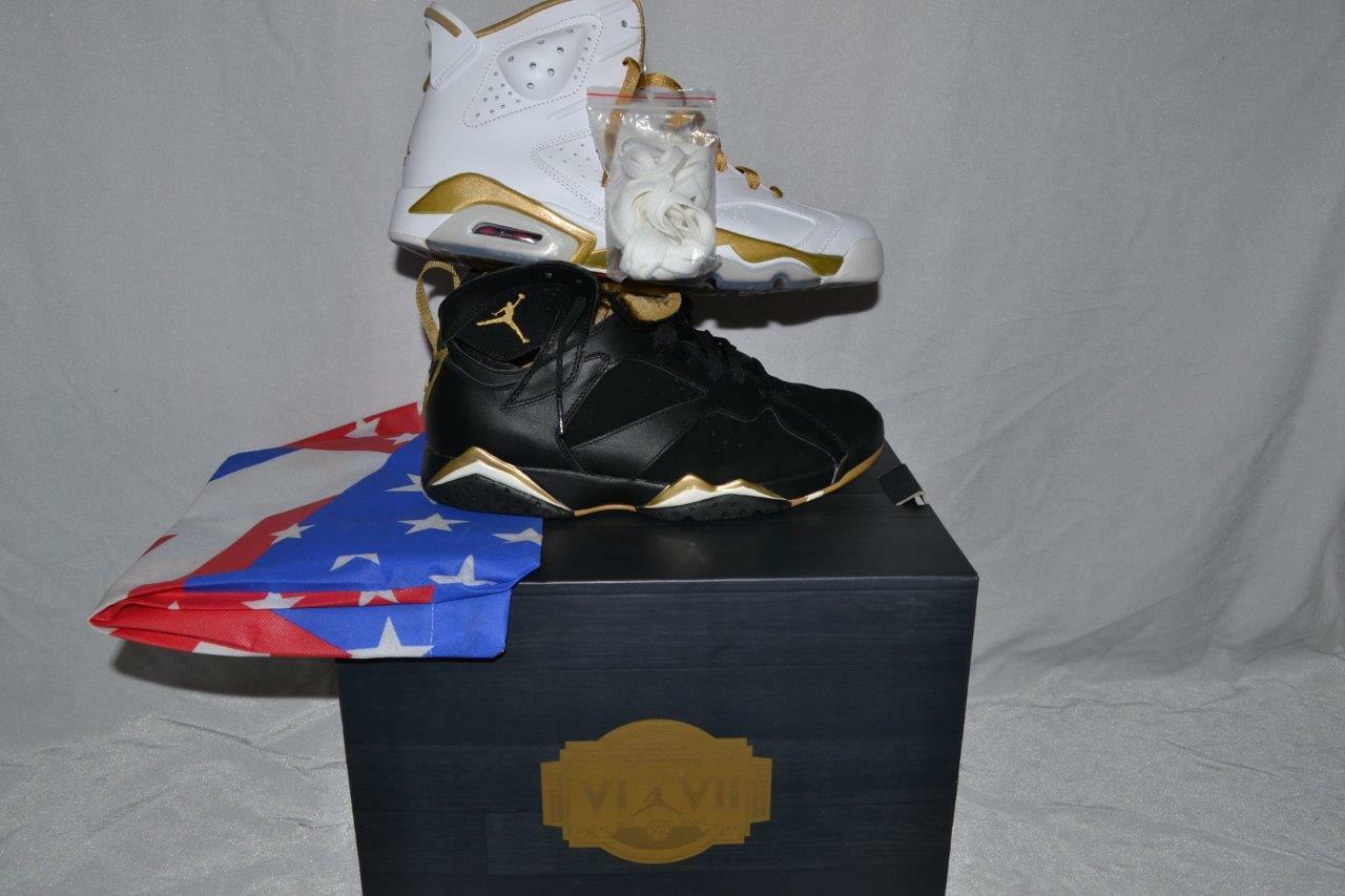 AUTHENTIC NIKE AIR JORDAN goldEN MOMENT PACK RETRO VI & VII SIZE 10.5 BRAND NEW