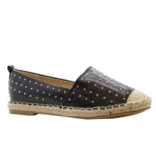 Ladies Womens Flats Slip On Summer Studded Espadrilles Pumps Sandals Shoes Size