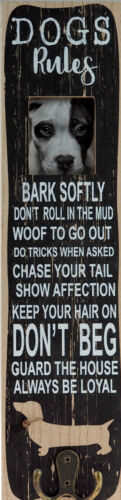 Key Hooks Dog Rules Fun Novelty Plaque With Lead