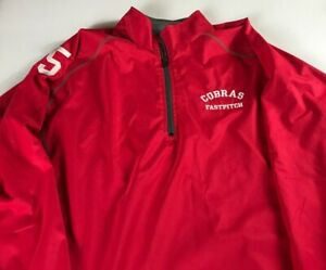 Cobras-Fastpitch-Jacket-Mens-SZ-M-L-Red-Lined-1-4-Zip-Windbreaker-Softball-5