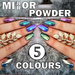 MIRROR-POWDER-CHROME-EFFECT-ART-NAIL-PIGMENT-HOLO-BLUE-PURPLE-SILVER-GREEN-NAILS