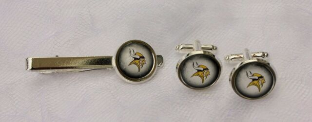 Minnesota Vikings Cuff Link & Tie Clip Set made from Football Trading Cards
